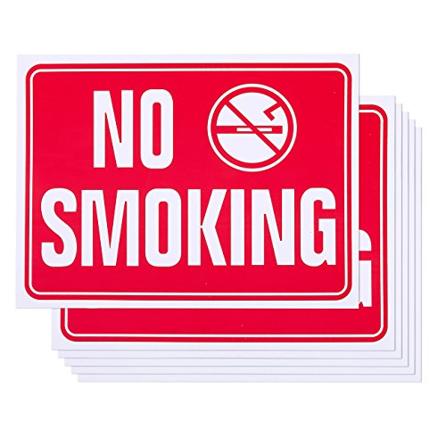 6-Pack of No Smoking Signs - PVC Signs for Business, Office Use, Red and White - 15.6 x 11.8 inches from Juvale