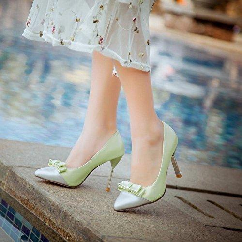 Mee Shoes Damen süß modern Mischfarbe mit Schleife Trichterabsatz Plateau Pumps Grün