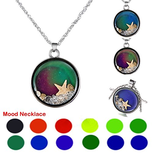 RINHOO White Gold Plated Cute Turtle & Owl & Starfish Heart Shaped Color Change Mood Pendant Necklace Women Girls Emotion Jewelry (Starfish)]()
