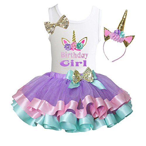 (Kirei Sui Satin Trimmed Tutu Birthday Tank Top S Unicorn Birthday Girl)