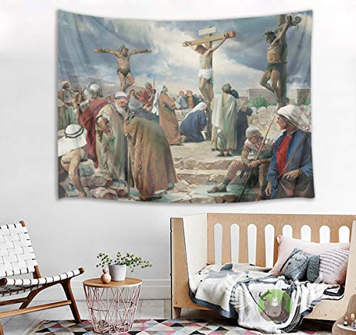 HVEST Easter Tapestry Jesus Christ on The Cross Wall Hanging Christian Crucifix Tapestries for Bedroom Living Room Dorm Wall Decor Church Party Backdrop,80Wx60H inches ()