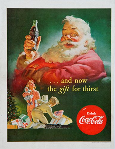 historic pictoric Coca Cola Christmas Gift Santa Claus 1952 1958 | 24in x 18in Vintage Poster Print