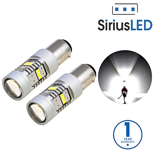 SiriusLED Extremely Bright 2835 Chipset Projection 1400 Lumen LED Brake Tail Turn Signal Light Bulb Pure White Size 1157 7528 2057 Pack of 2