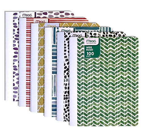 Mead Composition Notebook, 100 sheets, 9-3/4 x 7-1/2 inches (Wide Ruled, Fashion)