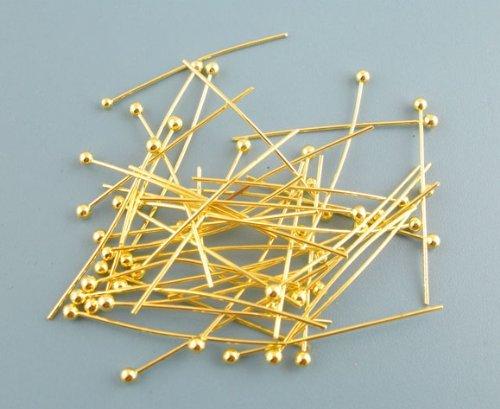 Housweety 500Pcs Gold Plated Ball Head Pins 0.5x25mm HOUSWEETYB03399-1