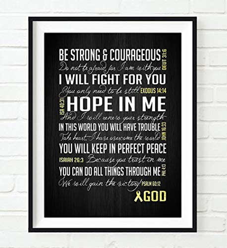 Be Strong Sarcoma/Bone Cancer Awareness Encouragement Art Print, UNFRAMED, Yellow Survivor Bible Scripture gift for her, ALL ()