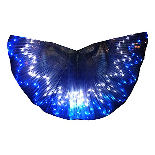 LED Isis Wings Glow Light Up Belly Dance Costumes with Sticks Performance Clothing Carnival Halloween Blue+White