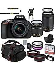 $848 » Nikon D3500 DX-Format DSLR Two Lens Import Kit with AF-P DX NIKKOR 18-55mm f/3.5-5.6G VR & AF-P DX NIKKOR 70-300mm f/4.5-6.3G ED + Deluxe Accessory Bundle Included Extra Lenses Memory Cards and More