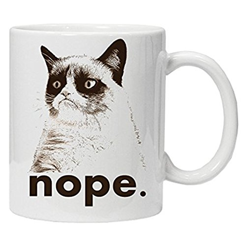 ZMvise Funny Novelty for Work, Nope, Grumpy Cat Fashion Quotes White Ceramic Mug Cup Perfect Christmas Halloween Gfit