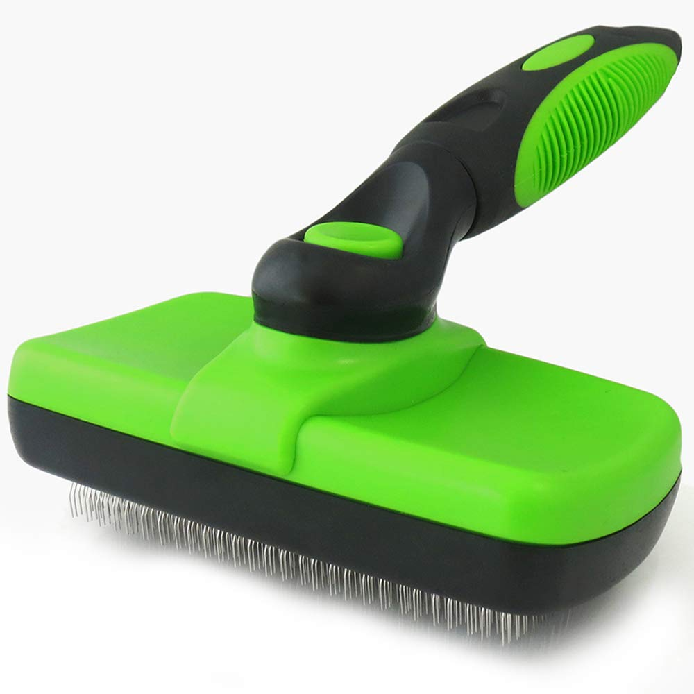 Pet Brush Self Cleaning Slicker Brush - 2019 for Dogs and Cats Including Easy Self-Cleaning Button, Soft Designed Grip Hand, Eliminates Loose Undercoat & Tangles Shedding & Hairballs(Green)