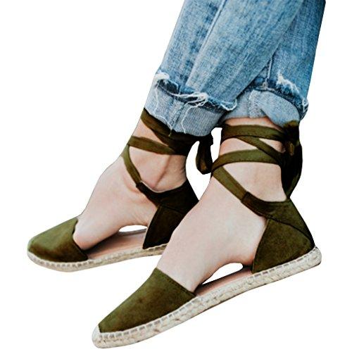 Piatte Moda Basso Tacco Toe Casual Chiuse Sandali Eleganti Verde Scarpe Boemia Estiva Bassi da Donna Shoes Spiaggia Estate Fasciatura Minetom aZxIwp7qW