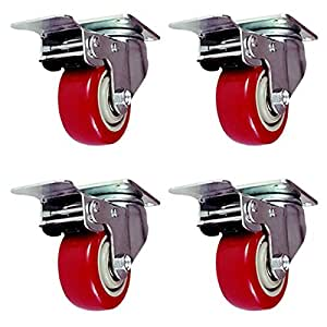Online Best Service 4 Pack Caster Wheels Swivel Plate with Brake On Red Polyurethane Wheels (3 inch with brake)