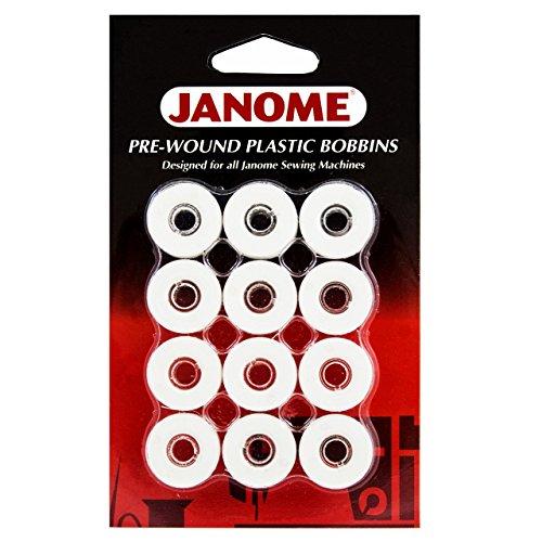 Janome Prewound Embroidery Machine Bobbins 12 per Card Prewound Embroidery Bobbins