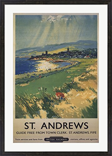 Vintage Golf - St Andrews Framed Art Print Wall Picture, Espresso Brown Frame, 31 x 43 inches
