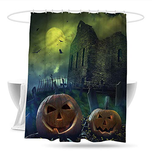 Sweet decoration Long Shower Curtain Halloween Pumpkin in Spooky Grave Fabric Shower Curtain Bathroom 70in×70in]()