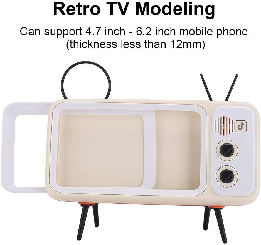 Retro TV Shape Speaker Coffee Mini Bluetooth Wireless HD Sound Speaker Support Mobile Phone Stand Function Idea Gift for Kids Friends