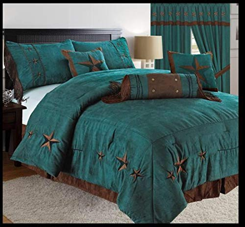 Royal Linen Western Comfort Set - Lone Star Comforter Kit - Set of 7 Pieces - Soft and Comfortable- Turquoise Color - King & Queen Size Bed(King) ()