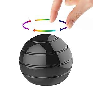Manzelun Kinetic Desk Toys,Full Body Optical Illusion Fidget Spinner Ball,Gifts for Men,Women,Kids (Small, Black)