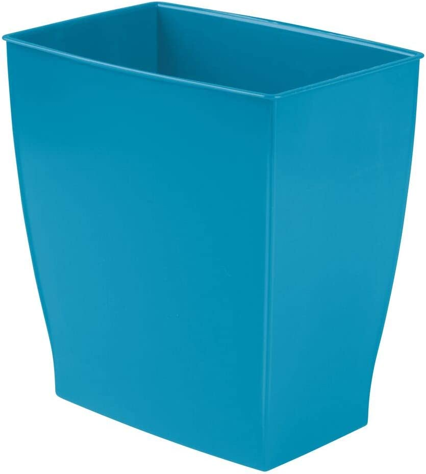 Home Offices Kitchens Shatter-Resistant Plastic Powder Rooms Peach Small Garbage Container Bin for Bathrooms mDesign Rectangular Trash Can Wastebasket