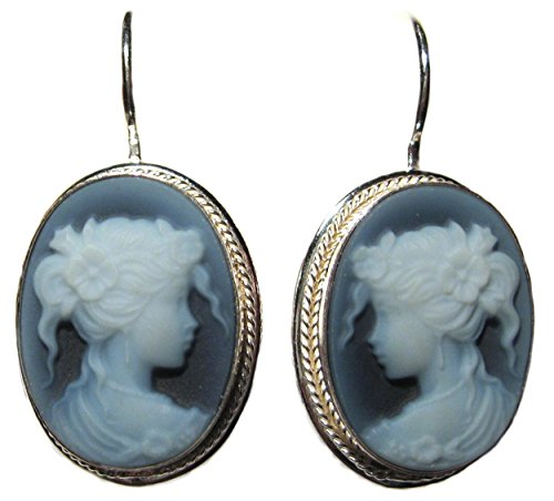Cameo Earrings Natural Agate Stone Euro Wire 925 Sterling Silver Laser Carved Italian