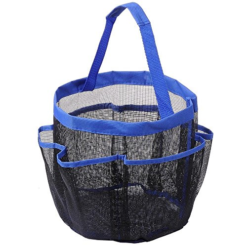 THANYA Shower Caddy Mesh 8 Pocket Portable Quick Dry Blue