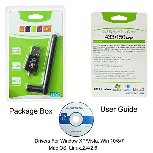 JJINGER Wifi Adapter- AC600 Dual Band 2.4G / Wifi Dongle Laptop Destop PC,Support 10/8/7/Vista/XP/2000, Mac