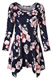 Luranee Flowy Shirts for Women, Teen Girls Flattering Cute Tops 3/4 Sleeve Crew Neck Casual Tunics Beach Vacation House Church Shopping Party Wear Outfits Slim Fit Blouses Navy Blue Pink