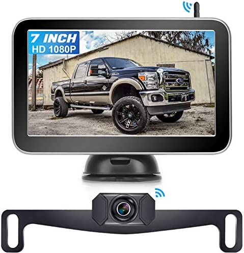 AMTIFO AM-W70 7 Inch HD 1080P Digital Wireless Backup Camera for Trucks,Cars,Vans,Campers,Hitch Rear View Camera Kit with Stable Signal,DIY Guide Lines