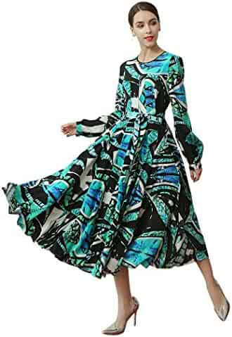 dede66bff406c VOA Women s Lantern Sleeve High Waist Lacing African Print Slim Dress  ALX16802