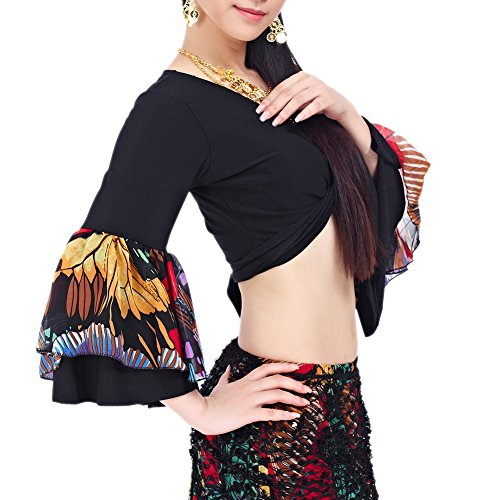 [BellyLady Belly Dance Tribal Flare Sleeve Wrap Top, Gypsy Dance Costume Top BLACK] (Gypsy Clothing Costume)