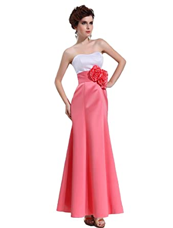 Amazon.com: Kimgala Womens Strapless White and Red Prom Dresses with ...