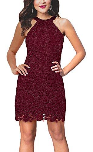(Women's Slim Dresses Sleeveless Lace Halter Party Mini Dress Burgundy S)