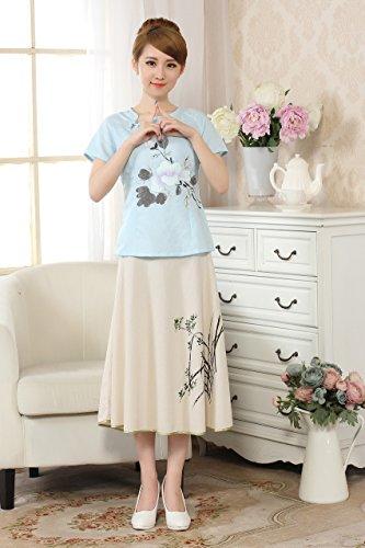 Yue Lian Damen Baumwolle Bluse Sommerbluse mit Lotus Muster Asymmetrisch Ausschnitt