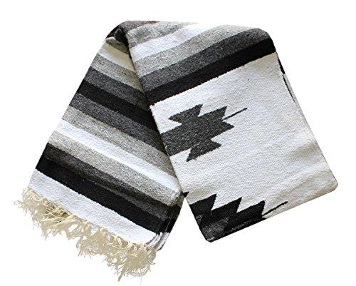Del Mex Woven Mexican Southwest Large Center Diamond Blanket Yoga Serape (Black/Gray) by Del Mex