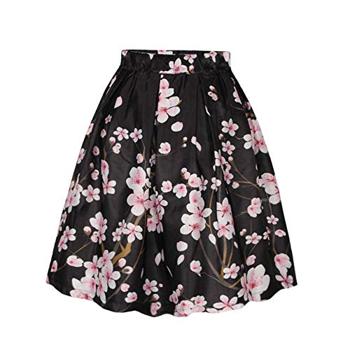 Women's/Big Girls' Flared Pleated Skater Midi Skirt Peach Blossom Knee Length Black Fit For Over 14 Years Old by ABCHIC (Image #3)