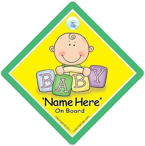 Baby On Board Personalizado Señal Coche,Personalizado Bebé A ...