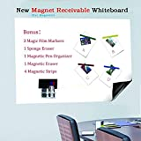 Bieco 48'' x 36'' Dry Erase Adhesive Magnet Receivable Wall Whiteboard Sheet Flexible Iron Base with Magnetic Pen Holder and Strips & Eraser,Excellent for Kids Drawing Easel or Office Writing Meeting