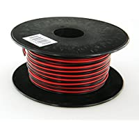 GS Powers True 24 Gauge (American Wire Ga) 100 feet 99.97% OFC stranded oxygen free copper, Red / Black 2 Conductor Bonded Zip Cord Power / Speaker Cable for Car Audio, Home Theater, LED strip Light