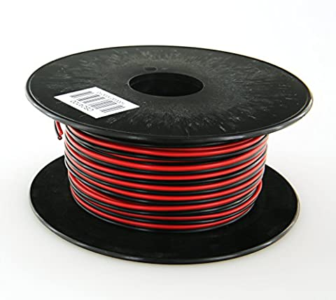 GS Power's True 24 Gauge (American Wire Ga) 100 feet 99.97% OFC stranded oxygen free copper, Red / Black 2 Conductor Bonded Zip Cord Power / Speaker Cable for Car Audio, Home Theater, LED strip - 2 Conductor Audio
