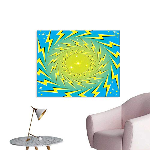 (Yellow and Blue Wall Decor Stickers Rotating Lightning Bolts Motion Illusion Sparks Retro Pop Art Print Office Poster W36 xL24)