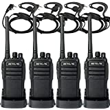 Retevis RT21 Walkie Talkies Generation 2 FRS Radio 16CH UHF Two Way Radio Rechargeable VOX Scramble 2 Way Radios(4 Pack) with 2 Pin C-Type Earpiece(4 Pack)