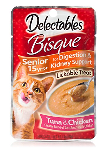 Hartz Delectables Bisque Senior 15 Years+ Lickable Wet Cat Treats - Tuna & Chicken - 12 Pack