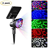 Solar Party Lights - Sunwind 2-Pack Solar Powered Spotlights Rotating Party Ball Light with 4 Color LEDs for Outdoor Garden and Holiday Decoration