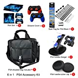 Asiv® 6 Set Universal Acessories for Sony PS4 Playstation 4 Console and Controllers, includes Large Travel Bag, Dual Controller Charger Dock Station, Dust Proof Prevent DIY, Blue Fire Skull Design Sticker, Skin Cover (Red and Blue) for PS4 Controller with