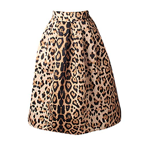 Dress Bow Front Tube - iCODOD Womens Leopard Skirt, Paragraph Pettiskirt Side Zipper Tie Front Overlay Ruffle Bow Princess Dress(Coffee,S)