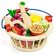 Cutting Food Play Food Toy Set for Kids Magnetic Wooden Cutting Fruits Food With Basket