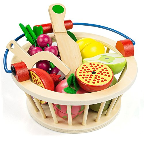 Victostar Cutting Food Play Food Toy Set for Kids Magnetic Wooden Cutting Fruits Food with Basket (Fruits) by Victostar
