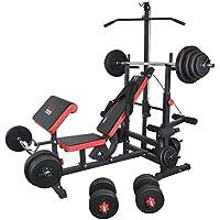 Trainhard estación de gimnasio de banco de pesas de poleas negro/rojo con largo -