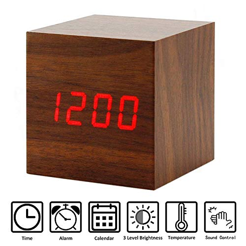 (Perfeo Wooden Alarm Clock, LED Cube Digital Alarm Clock with Temperature Display, Adjustable Brightness & Voice Control, USB/Battery Powered for Kids, Bedrooms, and Dormitory)