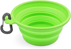 Flexzion Collapsible Dog Bowl Set of 1/2/4 Pack - 12oz Large Food Grade Silicone Foldable Expandable Pop Up Cup Dish Portable Travel Feeder Container for Pet Cat Food Water Feeding with Carabiner Clip